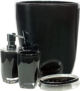 QG 4 pc Modern Clear/Black Acrylic Plastic Bathroom Accessory Set - Lotion Dispenser, Soap Dish, Tumbler, Trash Can - BTMO-BLK