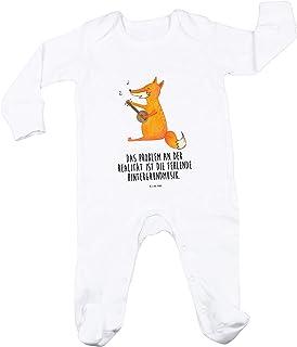 Mr. & Mrs. Panda Mr. & Mrs. Panda Mädchen, Geschenk, 6-12 Monate Baby Strampler Fuchs Gitarre mit Spruch - Farbe Weiß