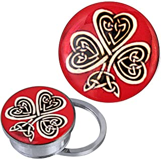 Screw Plug Tunnel silvery stainless steel Celtic knot shamrock red acrylic piercing