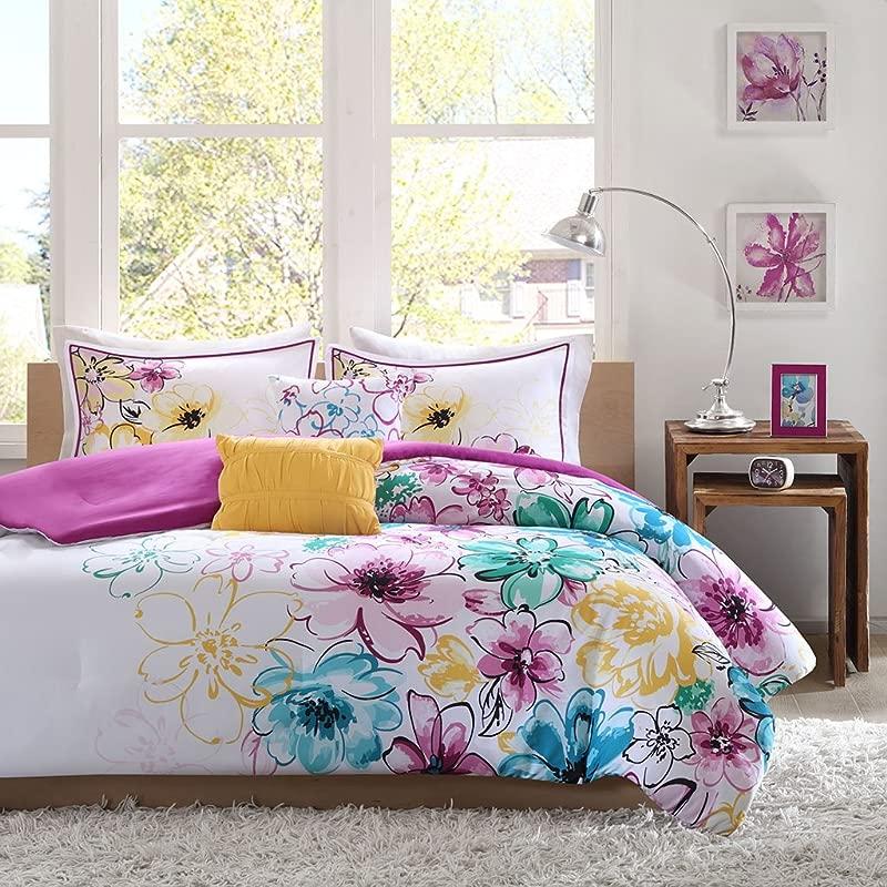 Intelligent Design Olivia Comforter Set Full Queen Size Purple Blue Floral 5 Piece Bed Sets Ultra Soft Microfiber Teen Bedding For Girls Bedroom
