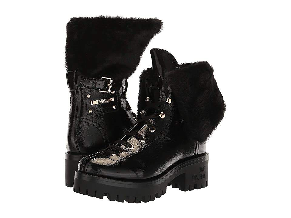 LOVE Moschino Faux Fur Ankle Boot (Black) Women