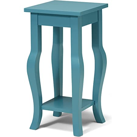 Amazon Com Kate And Laurel Lillian Wood Pedestal End Table With Curved Legs And Shelf Teal Furniture Decor