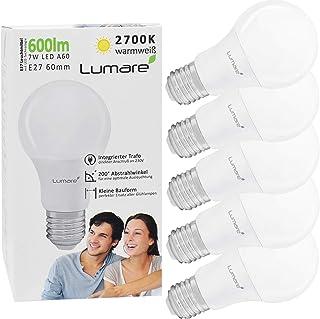 Lumare E27 LED Lampe 7W Ersetzt 60W 600 Lumen 5er Set Watt Energiesparlampe Glühbirne Lampe 2700 Kelvin A60 Leuchtmittel K...