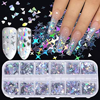 Holographic Nail Art Glitter Sequins Nail Art Supplies Flakes 12 Grids Laser Silver Nail Decals 3D Butterfly Nail Glitters...