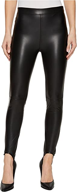 Vegan Leather Pull-On Stirrup Leggings in Black Mail