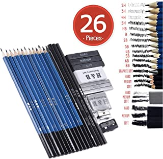 Drawing and Sketching Pencil Art Set Kit -Includes Graphite Pencils and Sticks,Charcoal Pencils,Erasers and Sharpeners