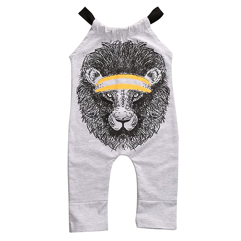 Gobrillant Newborn Baby Boy Girl Gray Lion Print Round Collar Sleeveless Romper Cropped Pants
