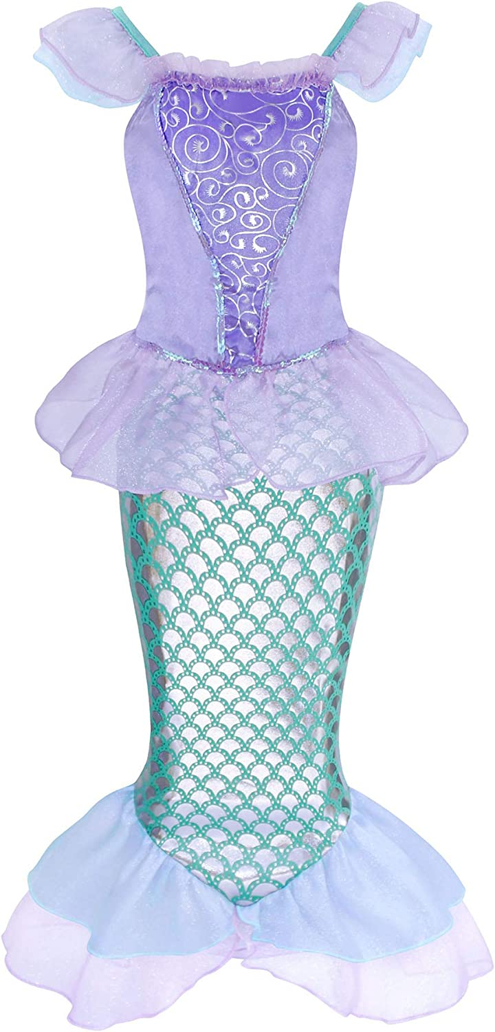 AmzBarley Mermaid Costume for Girls Princess Birthday Party Outfits Halloween Mermaid Dress up Clothes Flutter Sleeve Dress