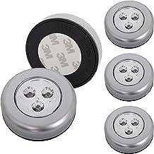 Briloner lampen - Set van 5 Stick&Push LED Touch lamp, werkt op batterijen, nachtlampje zelfklevend (3M merklijm), keukenl...