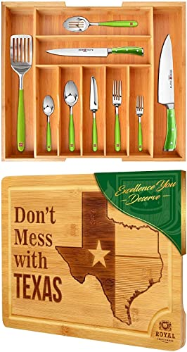 2021 Bamboo Silverware Drawer Organizer and State Cutting Board for online sale Kitchen – outlet sale Texas by Royal Craft Wood outlet sale