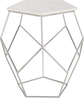 Christopher Knight Home 302289 Amiel Geometrical Mirrored Side Table Clear