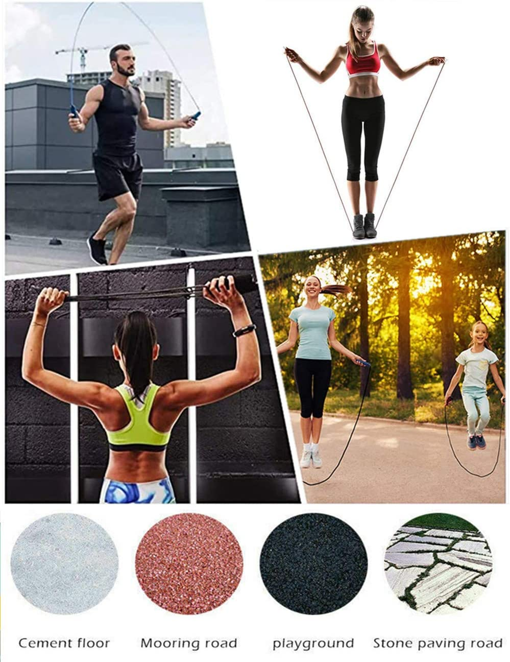 Crossfit,Profi Sport Ausdauer /& Abnehmen Springseil 2.8M Rope L/änge verstellbaren Springseil Kinder und Springseil Erwachsene F/ür Fitness,Workout