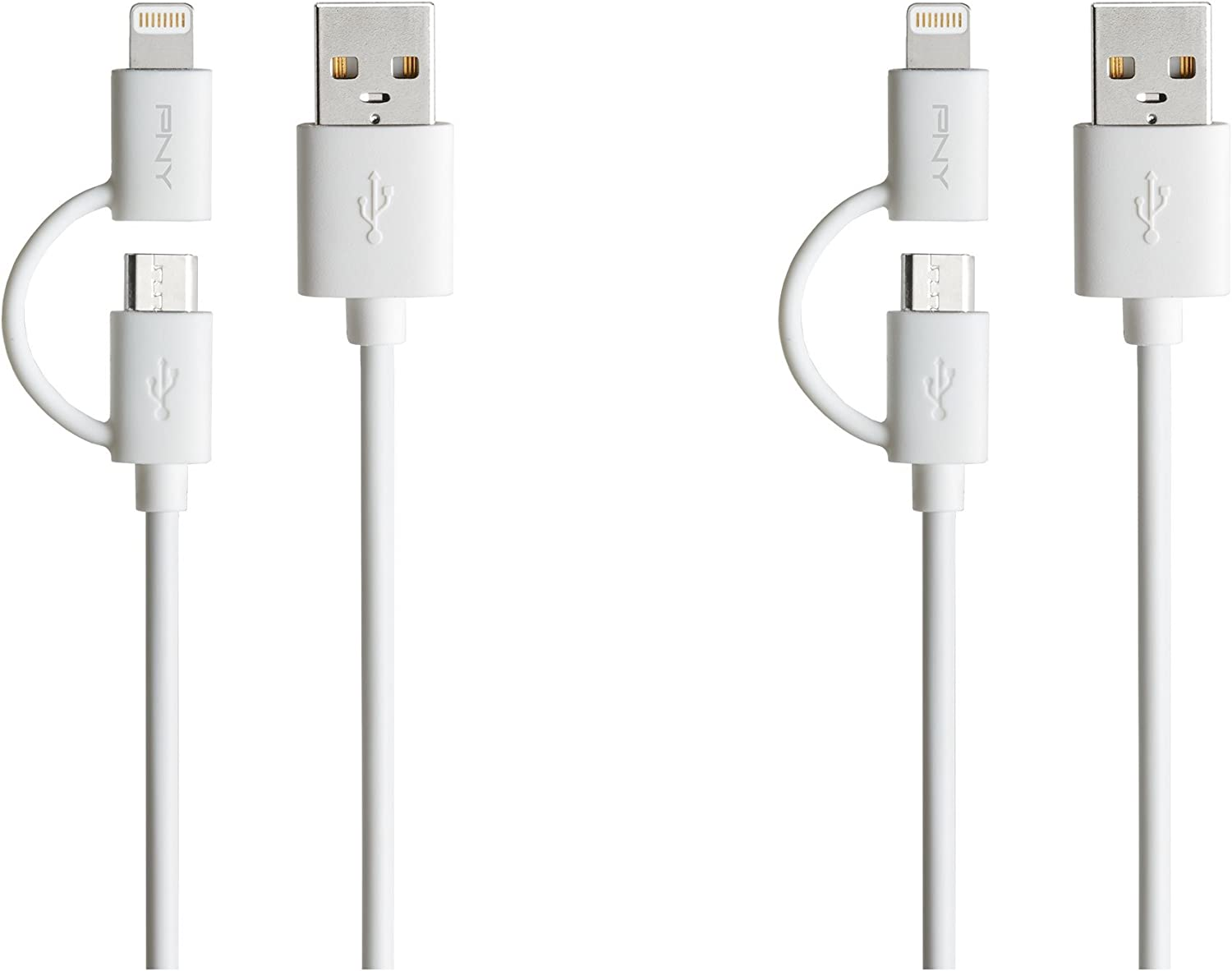 PNY C-UA-UULN-W01X4-01 2-in-1 Micro-USB and Apple Lightning Charge /& Sync Cable 4-Pack
