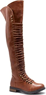 Herstyle Kristrrina Women Military Lace Up Thigh High Combat Boots