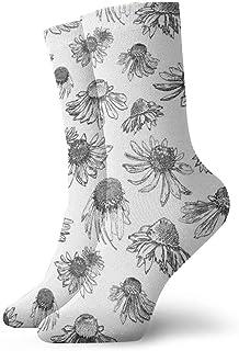 Coneflowers黒と白のファッショナブルなカラフルなファンキー柄の綿のドレスソックス11.8インチ