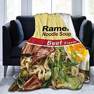 AMITAYUS Ramen Noodle Soup - Beef Flavor Fleece Throw Blanket Lightweight Super Soft Flannel Bed Blanket Perfect Home Decor for Couch Chair Sofa Living Room 50X40 Small
