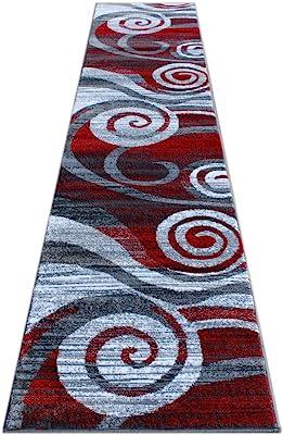 Masada Rugs, Stephanie Collection Area Rug Modern Contemporary Design 1103 Red Grey White (2 Feet 4 Inch X 11 Feet) Long Runner