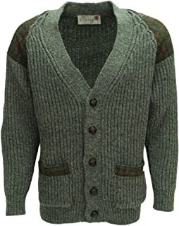 Chunky Knit Cardigan   Harris Tweed Patch   Leather Buttons   British Wool   # 41119