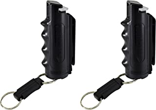 Pepper Defense (2 Pack) 4-in-1 OC Pepper Spray, CS/CN Tear Gas, UV Dye, Black Grip Holster, Belt Clip, Key Chain - Max Strength Police Grade Formula - Emergency Weapon Personal Safety and Protection