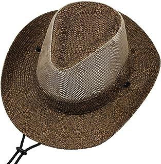 IAIZI メンズウエスタンカウボーイハットサマーメッシュ通気性麦わら帽子折り畳み式大型庇釣り岸壁帽子付きストロービーチハット (Color : Coffee color)