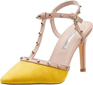 Mujer Para Amazon Zapatos esAmarillo Tacón De Yby7f6g