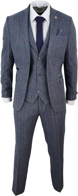 Mens 3 Piece Tweed Suit Check Wool Light Blue 1920s Retro Classic