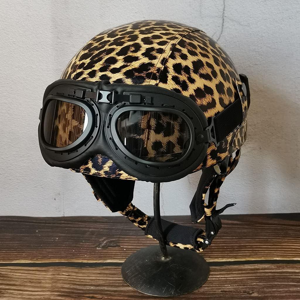 WSSCKT Long Beach Mall Sacramento Mall Retro Half Helmet with Vintage Leather Sty Goggles