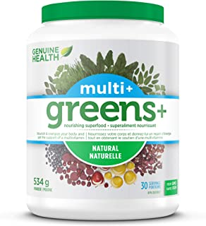 Genuine Health Greens+ Multi+ Green, Superfood Powder With Multivitamins & Minerals, Non GMO, Natural, 534g, 30 Servings