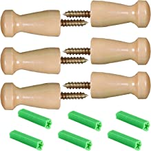 Maosifang 6 Pieces Solid Wood Wall-Mount Robe Hook Coat Hook Towel Wall Hook Shaker Pegs with 6 Pieces Self-Drilling Screw