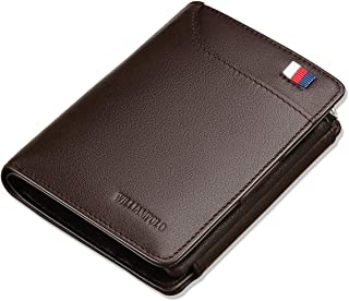 WILLIAMPOLO Men Wallet Genuine Leather Slim Bifold Money Clips Small Front Pocket Men's Wallets Credit Card Holder Organizers ID Window Short Mini Purse (Brown)