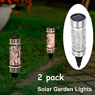Kaixoxin 2 Pack Solar Bollard Lights Outdoor, 5 LED Stainless Steel Solar Path Lights, Butterfly Dragonfly Fairy Decoration Lights Outdoor Waterproof for Garden,Yard,Lawn,Patio,Walkway