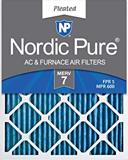 Nordic Pure 20x25x1 MERV 7 Pleated AC Furnace Air Filters, 6 PACK, 6 PACK