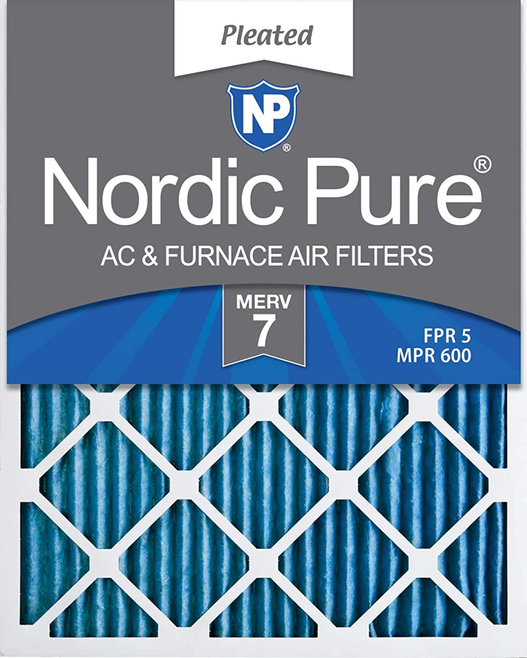 Nordic Pure 16x25x1 MERV 7 Pleated AC Furnace Air Filters, 16x25x1M7-6, 6 Pack