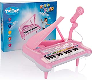 TaiToy Mini Keyboard Piano Toy for Toddlers with Karaoke Microphone and Bonus Ebook, Electric Baby Grand Piano, Music Instruments for Kids, Musical Toddler Girl Toys Gifts for Age 1, 2, 3, 4, 5, Pink
