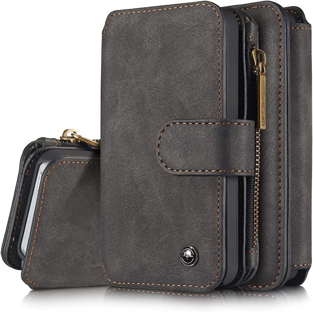 GUOQING Phone Case Wallet Case for iPhone 5/5S/5SE 2 in 1 Leather Zipper Detachable Magnetic 14 Card Slots,Clutch Bag Leather Wallet Holster (Color : Black)
