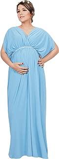 Womens Long Short Sleeve V-Neck Maternity Summer Flowy Gown Maxi Dress