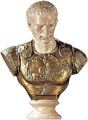 Design Toscano Julius Caesar in Armor Bust Statue, 27 Inch, Faux Bronze and Stone