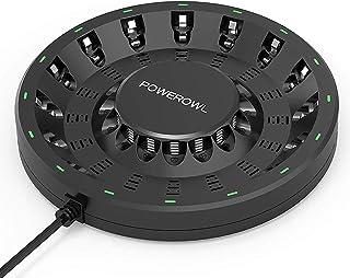POWEROWL 16-Plats AA AAA Batteriladdare (Uppdaterad, Höghastighetsladdning), med smarta LED-Lampor och Plugg, för laddning...