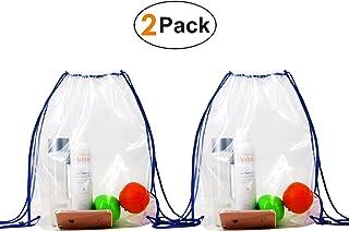 Backpacks-Clear-Drawstring-Waterproof-Bags 2 Pack Drawstring Backpacks Clear Bags for Stadium Gym Backpack Drawstring Bags For NFL(Clear Blue)