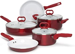 Advanced Bliss Healthy Ceramic Multipurpose Easy Clean Pots and Pans 8 pc. Set, Dishwasher Safe, Nonstick Interior, Ergonomic Stay Cool Handles, Red