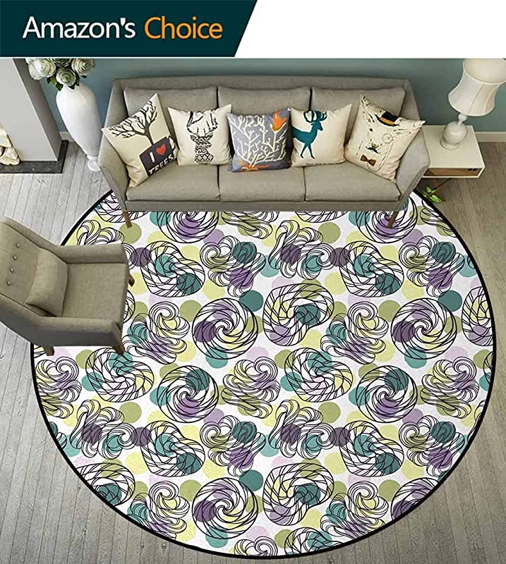 Abstract Non Slip Area Rug Pad Round Outline Lollipop Candy Figures Spiral Sweets On Pastel Color Polka Dot Background Protect Floors While Securing Rug Making Vacuuming Round 31 Inch Multicolor