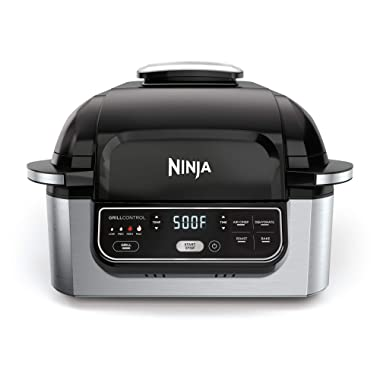 Ninja Foodi 5-in-1 4-Qt. Air Fryer, Roast, Bake, Dehydrate Indoor Electric Grill (AG301), 10  x 10 , Black and Silver