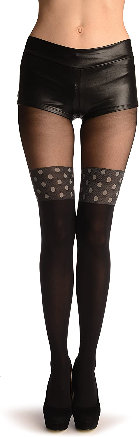 Black Faux Stockings With Grey Polka Dot Top - Pantyhose (Tights)