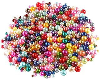 DIYASY 750 Pcs Round Plastic Pearl Beads Colored Mixed Size Craft Beads with Holesfor Bracelets and Jewelry Making 4,5,6...
