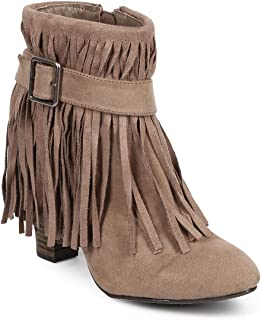 Qupid Women Suede Almond Toe Belted Fringe Ankle Bootie DB41