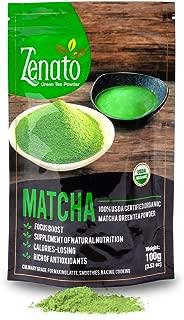 Zenato Matcha Green Tea Powder Culinary 100% USDA Organic , for Bakery, Latte, Smoothie, Ice Cream, 100g 3.5 oz Bag, Natural Antioxidants Benefits, Zero Additive and Sugar Free