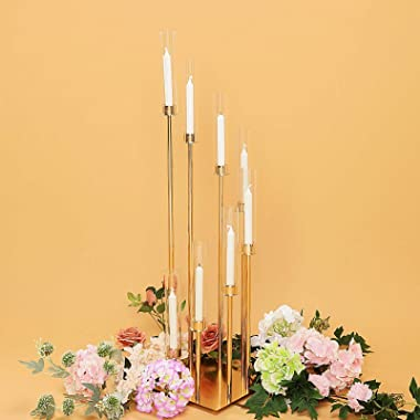 """Efavormart 42"""" - 8 Arms Gold Cluster Candle Holder with 8 Glass Shades, Large Candle Arrangement - Perfect for Wedding Pa"""