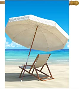 Pickako Tropical Summer Sand Beach Chair and Umbrella Sea Ocean Seascape House Flag 28 x 40 Inch, Double Sided Large Garden Yard Welcome Flags Banners for Home Lawn Patio Outdoor Decor