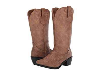 Roper Scrollin (Tan Faux Leather Vamp) Cowboy Boots