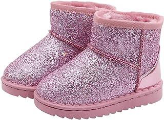 أحذية برقبة طويلة للفتيات باللون الأزرق، أحذية برقبة طويلة طويلة للأطفال مصنوعة من قماش الترتر، أحذية الثلج الخارجية (للأط...